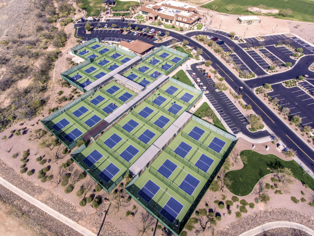 Aerial View of 24 Pickleball Courts - Pickleball Adult Community Saddlebrooke Ranch Oracle, AZ